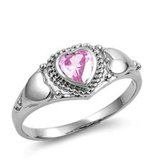 Sterling Silver ring size 8 CZ Heart cut Engagement Bridal Promise Pink New v26 #Unbranded #Solitaire