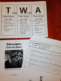 TWA strategy for struggling readers, for ALL texts. T = Think before, W = think While, A = think After (reading). Shown in action with nonfiction Reading A to Z book.