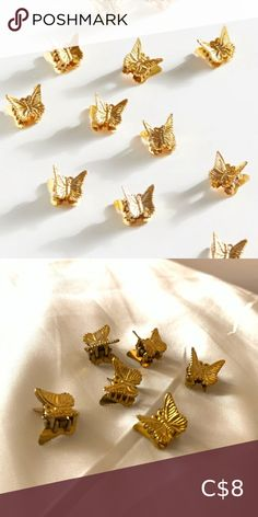 🕊Vintage Gold Butterfly Hair Clips Set Set of 6 clips to top off that vintage 90s look Perfect condition  🕊✨Free with any purchase Urban Outfitters Accessories Hair Accessories