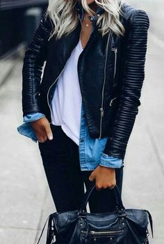 Cool street style. Leather jackets and denim shirts go so well together!