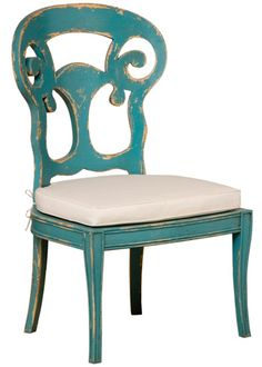 Fun distressed chair #chair, #distressed #shabby #coastal #cyan #turquoise #wood #scroll #carved