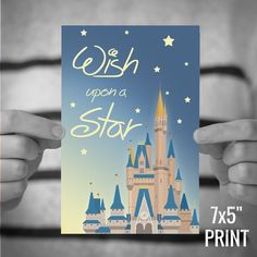 "Wish Upon a Star GRAPHIC ILLUSTRATION quote print. High quality photographic prints taken from my graphic illustration of this enchanting Disney quote. This product is for a 7x5"" or 15x10"" high quality lustre photographic print of the 'Wish Upon a Star' illustration, designed at my studio in Macclesfield, Cheshire, UK. ------------------------------ *** Standard LUSTRE PHOTO PRINTS*** This 'Fan Art' listing is for a standard high quality lustre photographic print. Printed by a specialist..."