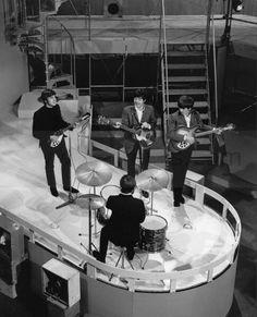 "The Beatles rehearsing for an appearance on ""Ready, Steady, Go! Liverpool, Ringo Starr, George Harrison, Paul Mccartney, John Lennon, Recital, Rock N Roll, Stuart Sutcliffe, George Martin"