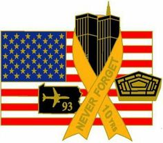 "9-11 10th Anniversary Pin by Americas & Americas. $6.95. Our 9/11 10th Anniversary Pin is a wonderful way to remember the heroes and those who died on that tragic day. Each pin features the twin towers with a yellow ribbon wrapped around them that reads ""Never Forget - 10th."" In addition, flight 93 and the pentagon appear next to the twin towers. In the background is the United States Flag, flying proudly.  As the 10th anniversary of the attacks approaches, there will be..."