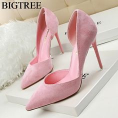 New Women Pumps Classics High Heels Shoes Fashion Suede Flock Pink Sexy Slim Pointed OL Office Heeled Shoes Hollow Elegant 34-39 #Affiliate