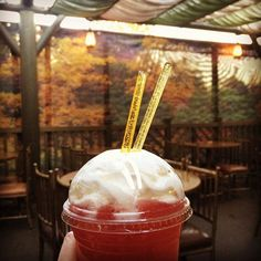 Had this magic for the first time! Honey bee frozen lemonade with whipped cream and honey flavored icicles @ #hungrybearrestaurant 😍 where have you been all my life?!?! (It washed down the churro flavored funnel cake quite nicely) #disneyland #frozenlemonade #getinmybelly #yummy