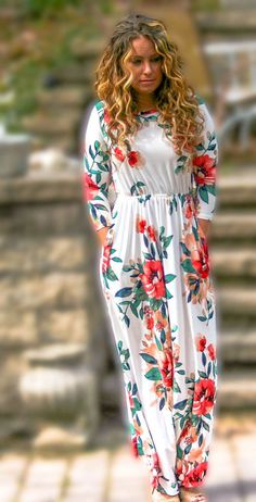 - One you can rely on to wear morning, noon, and night. This maxi dress is luxuriously soft, has a high scoop neck, 3/4 sleeves, and hidden pockets(!). It's so ridiculously comfortable, yet elegant an
