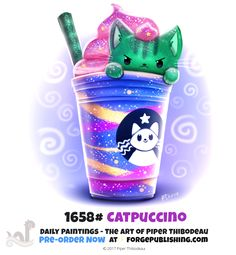 Daily Painting - Catpuccino by Cryptid-Creations on DeviantArt Cute Animal Drawings, Kawaii Drawings, Cute Drawings, Animal Puns, Animal Food, Image Chat, Dibujos Cute, Kawaii Cat, Painted Books