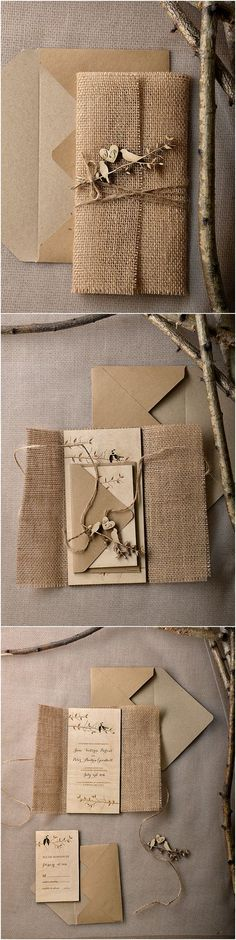 Eco Burlap Rustic Country Laser cut Wood Wedding Invitation Suite - Deer Pearl Flowers
