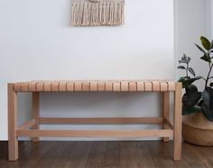 Woven Leather Strap Bench by portalsandprisms on Etsy https://www.etsy.com/listing/537338530/woven-leather-strap-bench