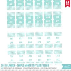 Free Planner Printables - Month tab stickers #Organise #Planner
