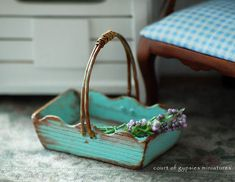 Made to Order Miniature Shabby Wooden French Garden Trug for Dollhouse b yAtomicBlythe