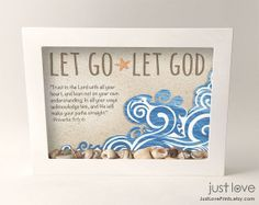 shadow box bible ideas | Let Go Let God Proverbs 3:5-6 5x7 Framed Shadow Box with real beach ...
