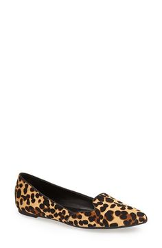 Nine West 'Shindig' Calf Hair Pointy Toe Smoking Slipper Flat (Women) available at #Nordstrom Cheetah print and in size 11