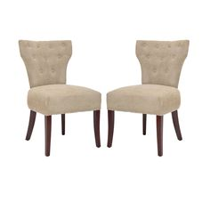Safavieh Broome 21''H Tufted Side Chair - Nickel Nail Heads (Set Of 2), Beige & Tan