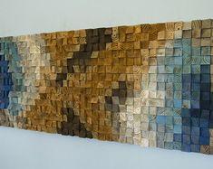 Madera recuperada de la pared arte mosaico de madera arte