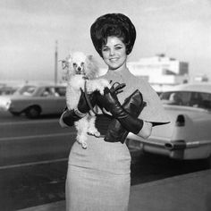 Priscilla Presley, 1965- My real mom had a hair-do like that. I love that she's rocking the leather gloves.