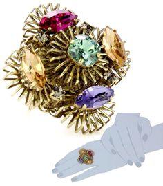"""Art Deco Renaissance"""" Crystal Embellished Adjustable Ring"""
