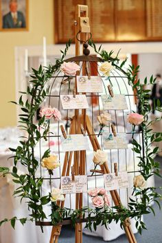 Like idea of using bird cage as basis for table plan....could jazz this up a bit.  #theweddingofmydreams @The Wedding of my Dreams   table plan available from www.theweddingofmydreams.co.uk