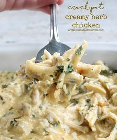 Simple and delicious!   Chicken in a creamy, herb sauce cooked up in your crock pot..