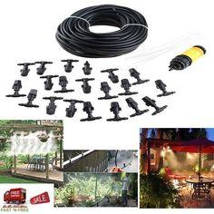 20M 66FT Line 20 PCS Mist Nozzle Sprinkler System Tool Cool Garden Patio Outdoor #AGPtek