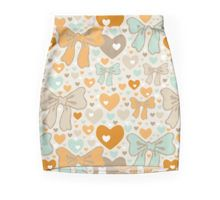 Seamless pattern with bows and hearts. Pencil Skirt