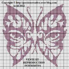 Coucou, Voici une nouvelle grille de papillon Pour l'imprimer, cliquez sur l'image. Je vous remercie par avance pour la photo de votre ouvrage réalisé à partir d'une de mes grilles. Je vais vous laisser pour le moment. Je vous souhaite un excellent week...