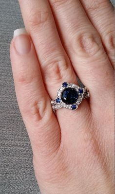 Estate Halo Blue Sapphire Diamond Antique by PenelliBelle on Etsy