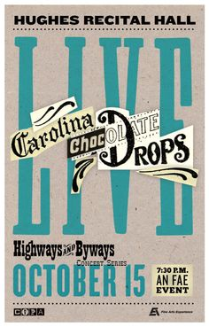 Gig poster for the Carolina Chocolate Drops. Tbarnes.graphics 2015