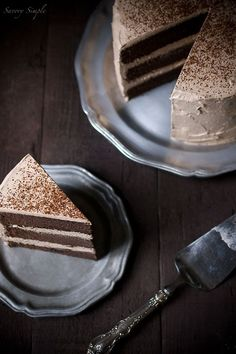 This chocolate espresso layer cake is rich and moist with a chocolate espresso Italian meringue buttercream frosting.
