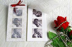 Zaproszenia ze zdjęciami są zawsze bardzo interesującą propozycją przede wszystkim dla gości, którzy posiadając zaproszenie posiadają równocześnie niezwykła pamiątkę. Zdjęcia w zaproszeniu są czarno-białe.