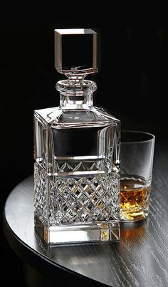 Whisky looks simple in the bedroom & refreshes drinkers in the evening as well as morning - BOSTOCK Crystal Decanter, Crystal Glassware, Waterford Crystal, Carafe, Cut Glass, Glass Art, Cristal Art, Whiskey Decanter, Whiskey Glasses