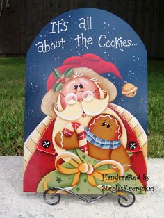 Handpainted Christmastime Gingerbread, Santa, Painted Wood Sign For Holidays… Christmas Signs, Christmas Pictures, Christmas Art, Christmas Projects, All Things Christmas, Christmas Decorations, Christmas Ornaments, Painted Jars, Painted Wood Signs