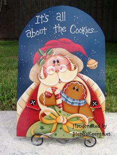Handpainted Christmastime Gingerbread, Santa, Painted Wood Sign For Holidays, Christmas, Santa, Home Decor,Decoration, Steph'sKeepsakes
