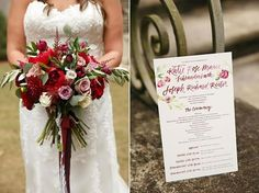 Dramatic bridal bouquet of roses in rich reds, pink, and white. Ceremony programs with red roses match the invitations. Red, White, and Rosy Real Wedding at Atlanta History Center // Susan Graham Signature Events | Laura Stone Photography