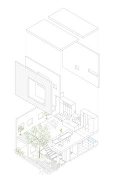 Axonometric drawing of Frame residence in Japan by UID Architects  I miss axon drawing!   For those who don't know what it is, an axonometric drawing/projection is a type of parallel projection used to create a pictorial drawing of an object, such as a building or room, in three dimensions showing the verticals and horizontals projected to scale.  Often, Axonometric projections may appear to be distorted but they are very useful to show as much as possible of, for example, the inside of a…