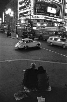 Piccadilly Circus at night; 1960, Bob Collins [Museum of London prints to buy]