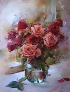 Raindrops and Roses Oil Painting Flowers, Watercolor Flowers, Watercolor Paintings, Paintings I Love, Beautiful Paintings, Raindrops And Roses, Arte Floral, Flower Art, Beautiful Flowers