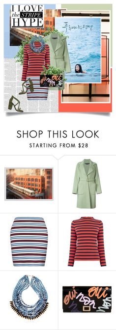"""Stripe Hype in the Light of Night"" by la-belle-folie ❤ liked on Polyvore featuring Pottery Barn, Rochas, Warehouse, NIGHTMARKET, Roger Vivier and Iris"