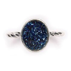 Sterling Silver Blue Druzy Ring At TheShayBoutique.com