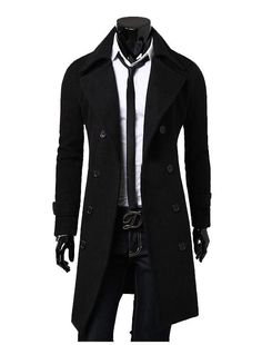 Men Winter Trench Coat Slim Long Jacket Double Breasted Overcoat Black For US L #Unbranded #Peacoat