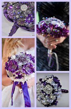Purple Jeweled Bouquets by Blue Petyl #purple #wedding #bouquet