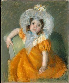 """Margot in Orange Dress"" -- 1902 -- Mary Cassatt -- American -- Pastel on wove paper, laid down on canvas -- Metropolitan Museum of Art"