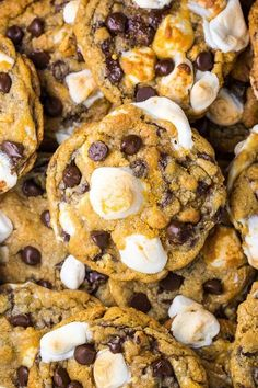 S'mores Chocolate Chip Cookies are thick, chewy, and loaded with so much gooey goodness. Easy to make and no chilling required! S'mores Chocolate Chip Cookies are thick, chewy, and loaded with so much gooey goodness. Easy to make and no chilling required! Baking Recipes, Cookie Recipes, Dessert Recipes, Pasta Recipes, Yummy Treats, Yummy Food, Tasty, Sweet Treats, How Sweet Eats