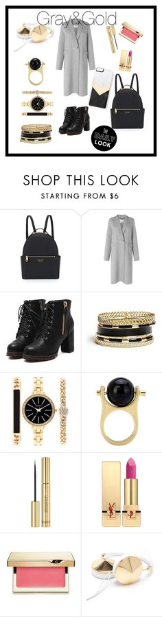 """""""Gray&Gold"""" by silvia-esvicode on Polyvore featuring Henri Bendel, L.K.Bennett, GUESS, Style & Co., Yves Saint Laurent, Clarins, Frends and Zero Gravity"""