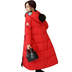Novelty Women Parka 2017 Winter Jacket Female X-Long Casual Parkas Coat Thick Hoody Cold Proof Outerwear Red/Black/Apricot XH461 #Affiliate