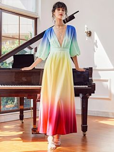 Plunging Neck Bishop Sleeve Ombre Dress | SHEIN USA Bishop Sleeve, Dress P, Fashion News, Formal, Sleeves, Usa, Clothes, Women, Style