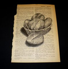 French Dictionary, Dictionary Art, Book Page Art, Book Pages, Bakery Shop Design, Homesteading, Retro Fashion, Basket, Bread