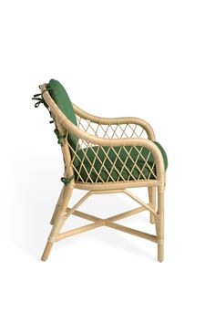 Soane Britain's Rattan Lily Dining Chair with cushions upholstered in Old Flax - Bayleaf - Weave Outdoor Chairs, Dining Chairs, Outdoor Furniture, Outdoor Decor, Chair Parts, Furniture Making, Rattan, Weave, Accent Chairs