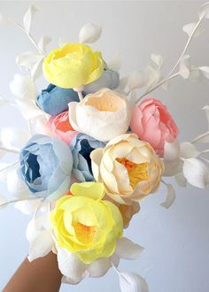 Crepe paper flowers handcrafted and photographed by Papetal